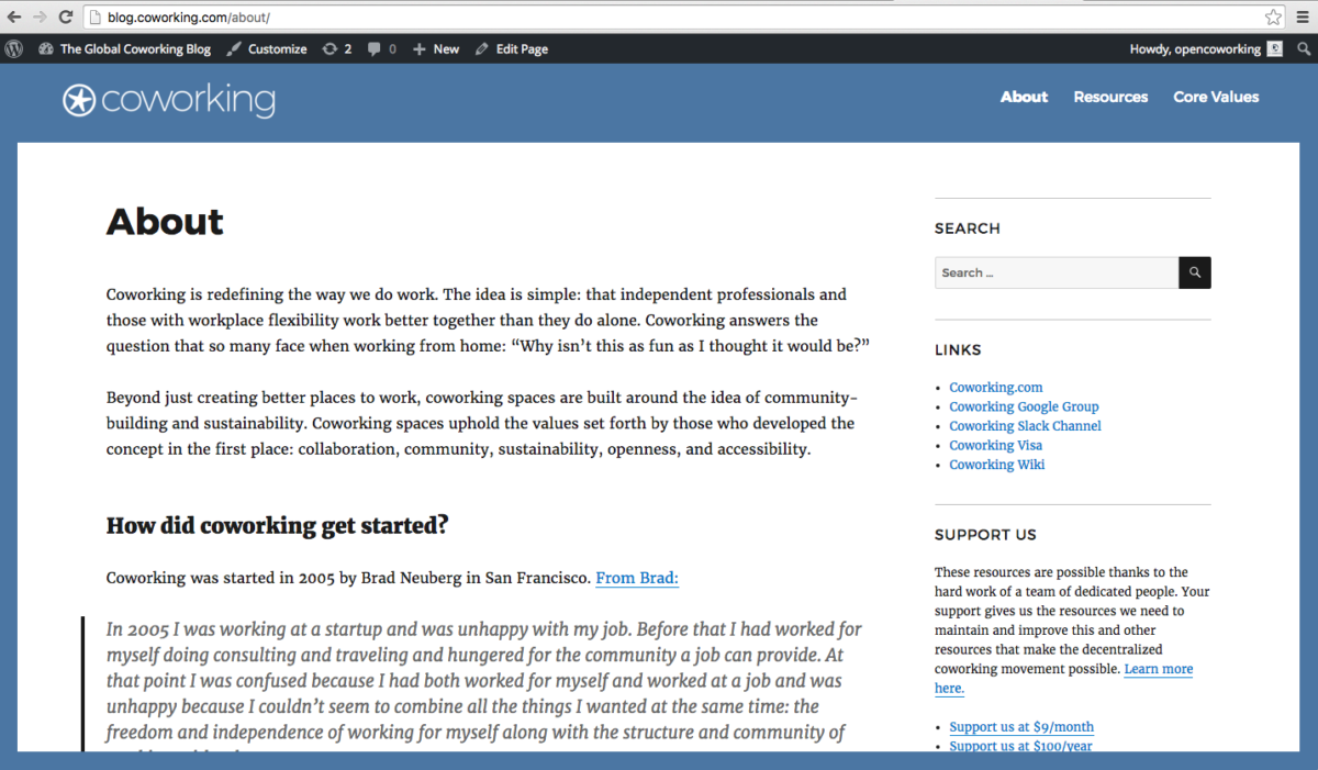 A new design for the Coworking Blog, and plans to overhaul the wiki!